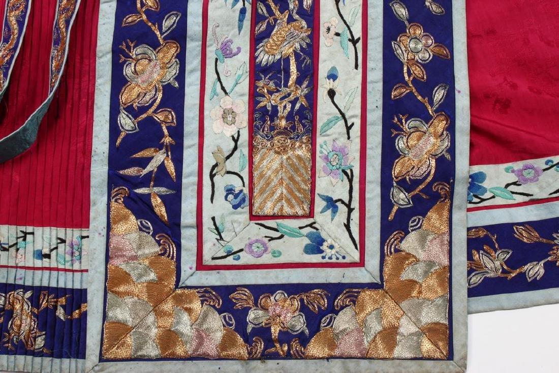 Chinese Late Qing Han Silk Wedding Skirt, - 5