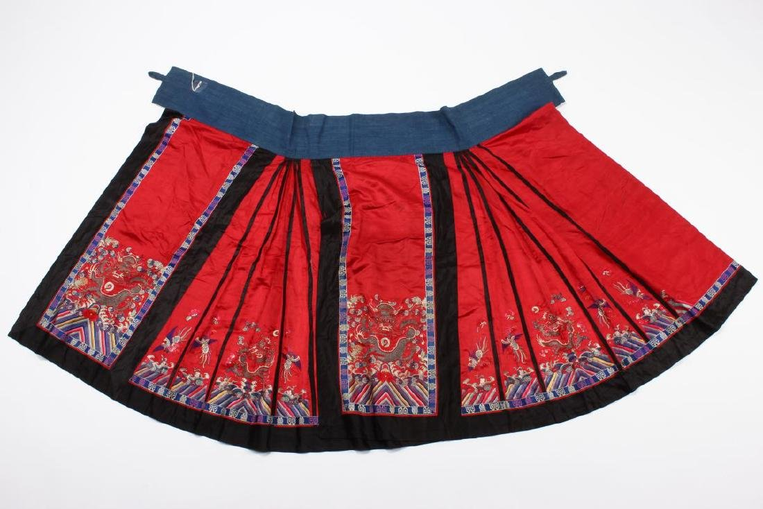 Chinese Early Republic Red Han Wedding Skirt,