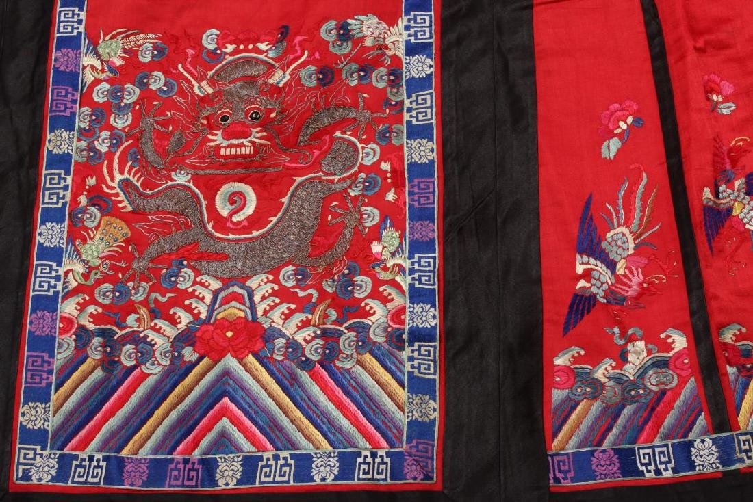 Chinese Early Republic Red Han Wedding Skirt, - 2