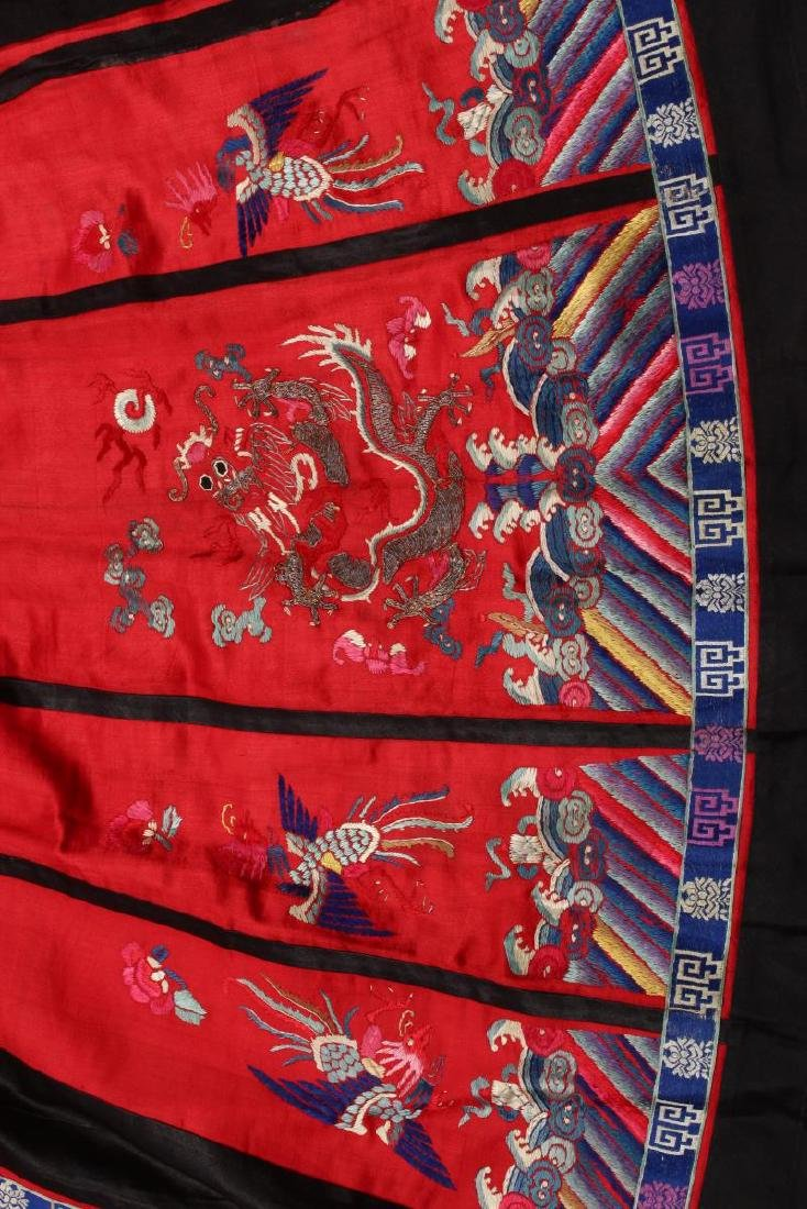 Chinese Early Republic Red Han Wedding Skirt, - 3