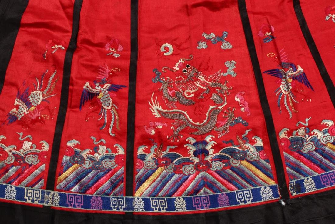 Chinese Early Republic Red Han Wedding Skirt, - 5