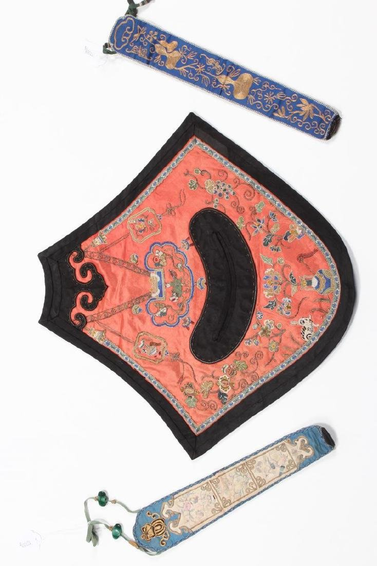 Chinese Late Qing Embroidered Silk Dou Dou,