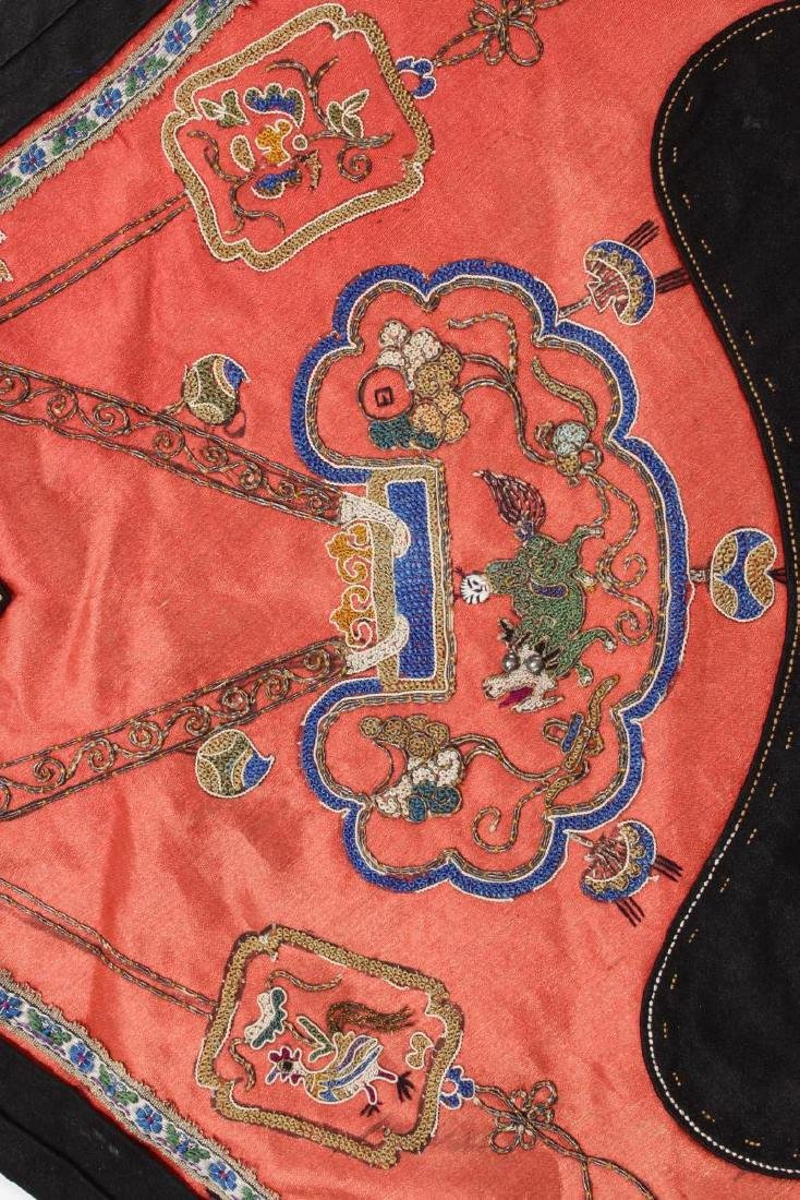 Chinese Late Qing Embroidered Silk Dou Dou, - 3