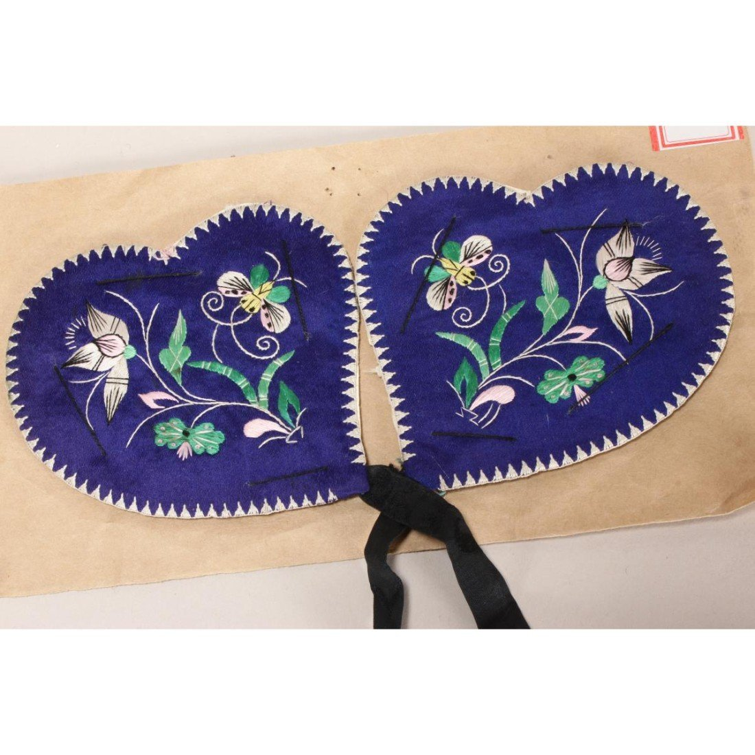 Pair of Chinese Embroidered Silk Panels, - 2