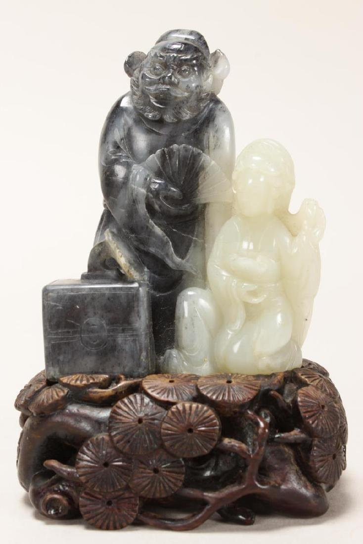 Chinese Black and White Jade Figure Group,