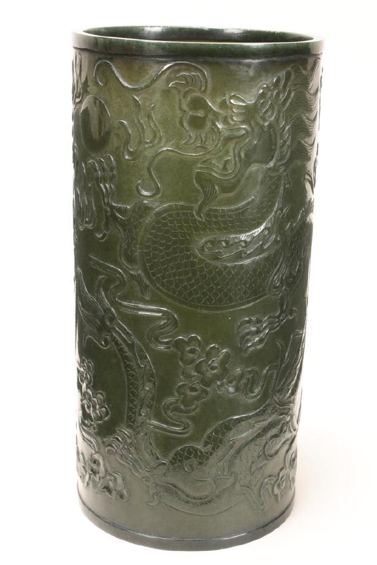 Fine Chinese Green Jade Brush Pot,