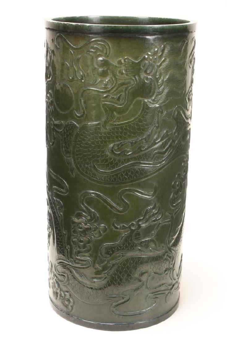 Fine Chinese Green Jade Brush Pot, - 3