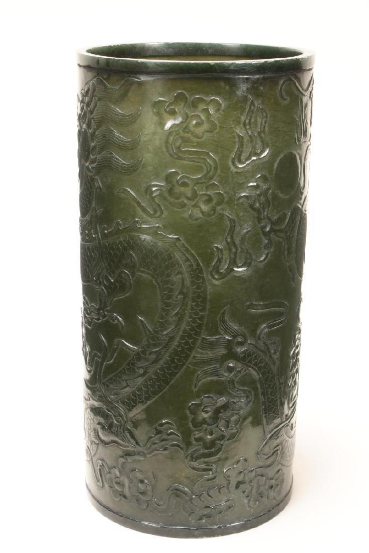 Fine Chinese Green Jade Brush Pot, - 4