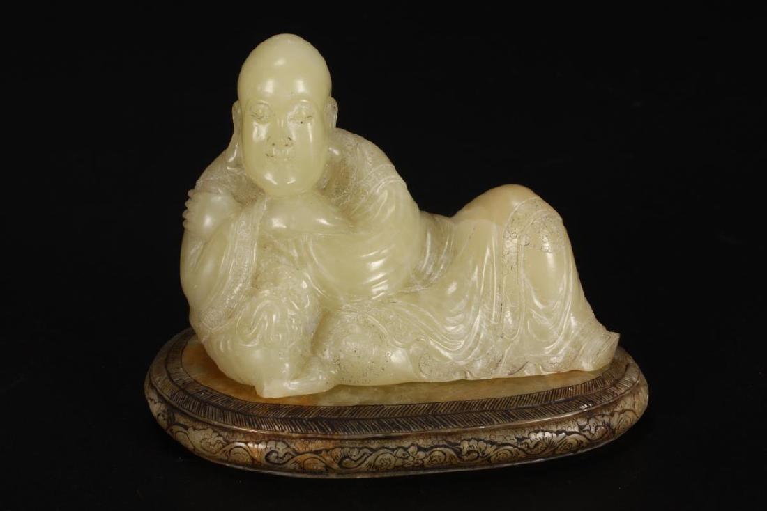 Chinese Carved Jade Buddha Figure,