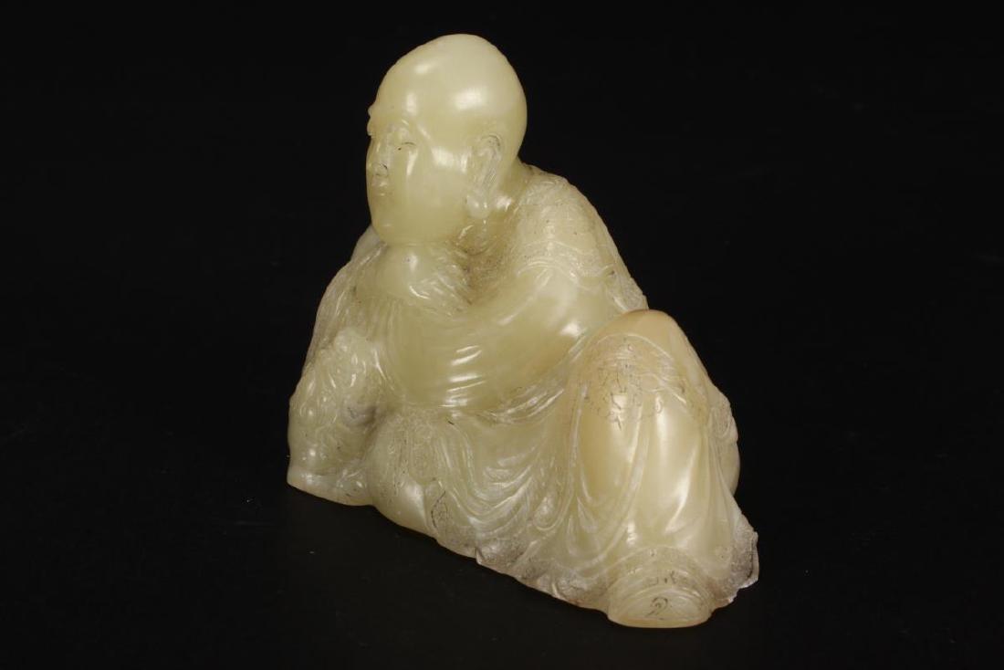Chinese Carved Jade Buddha Figure, - 2