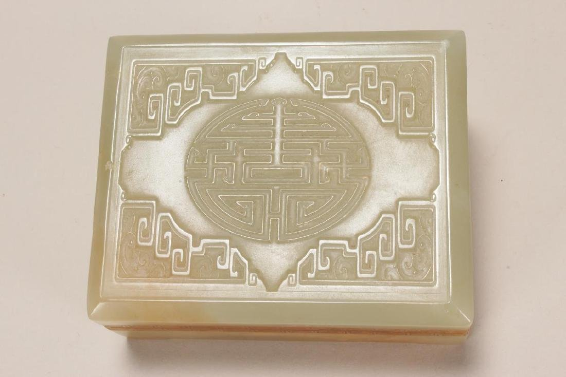 Chinese Carved Jade Box and Cover, - 3