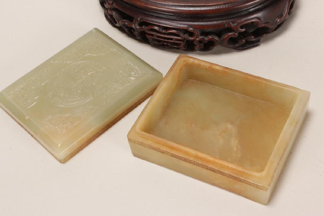 Chinese Carved Jade Box and Cover, - 4
