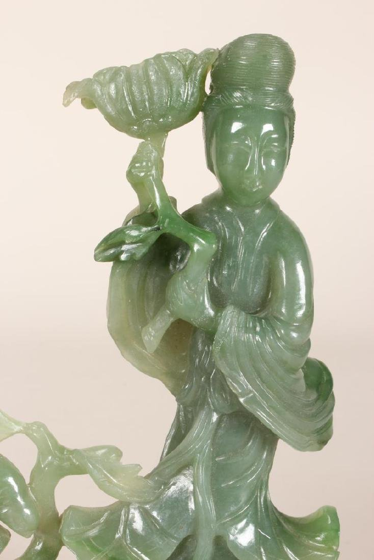 Chinese Carved Jade Kwan Yin, - 3