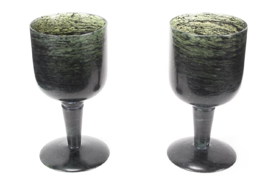 Pair of Chinese Spinach Jade Wine Cups,