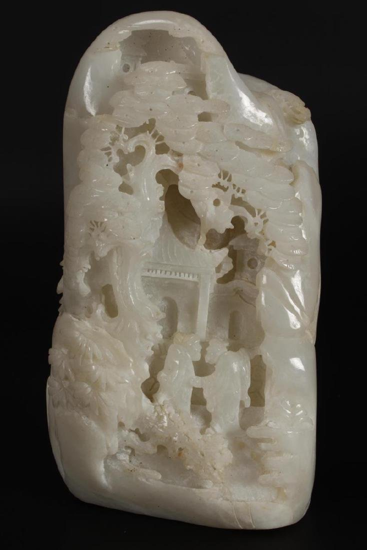 Chinese White Carved Boulder,