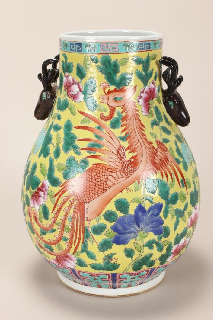 Pair of Chinese Famille Jaune Twin Handled Vases, - 2