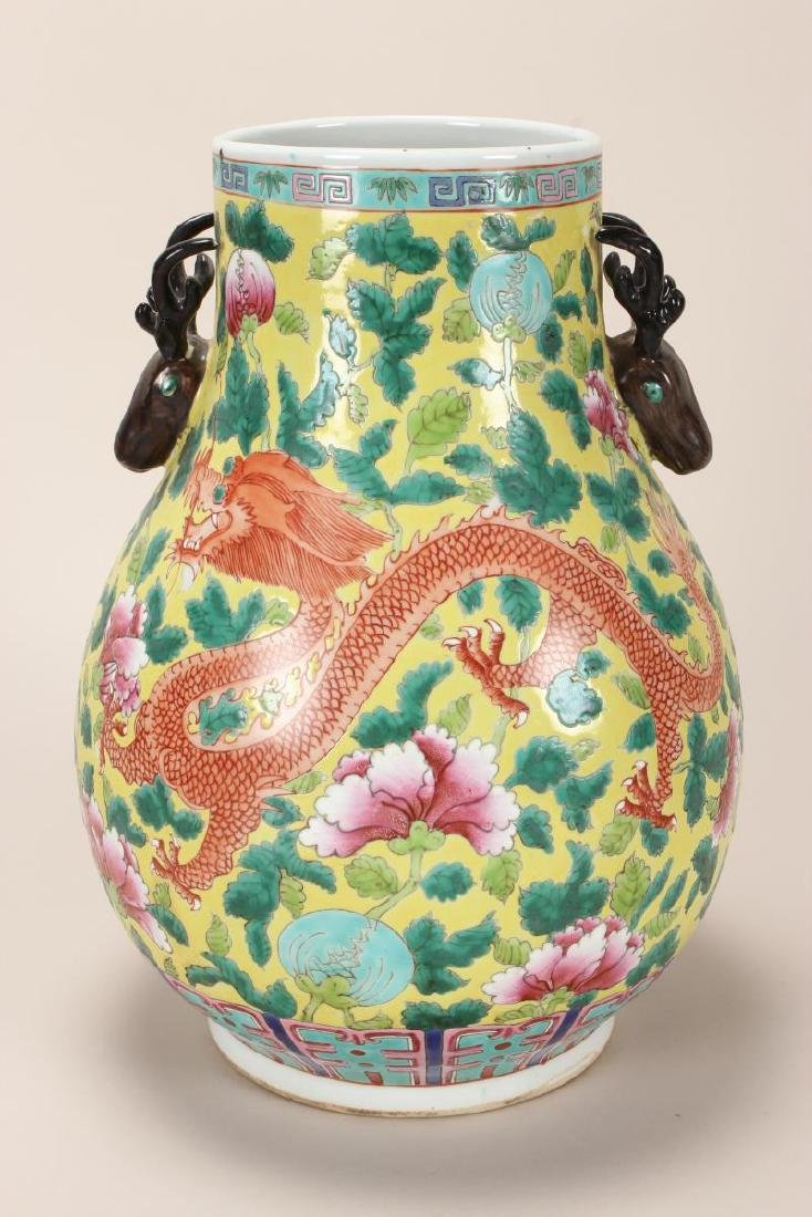 Pair of Chinese Famille Jaune Twin Handled Vases, - 3