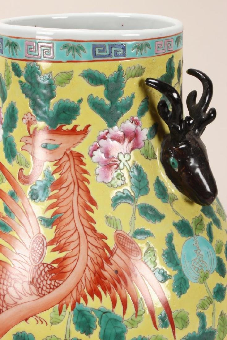 Pair of Chinese Famille Jaune Twin Handled Vases, - 5