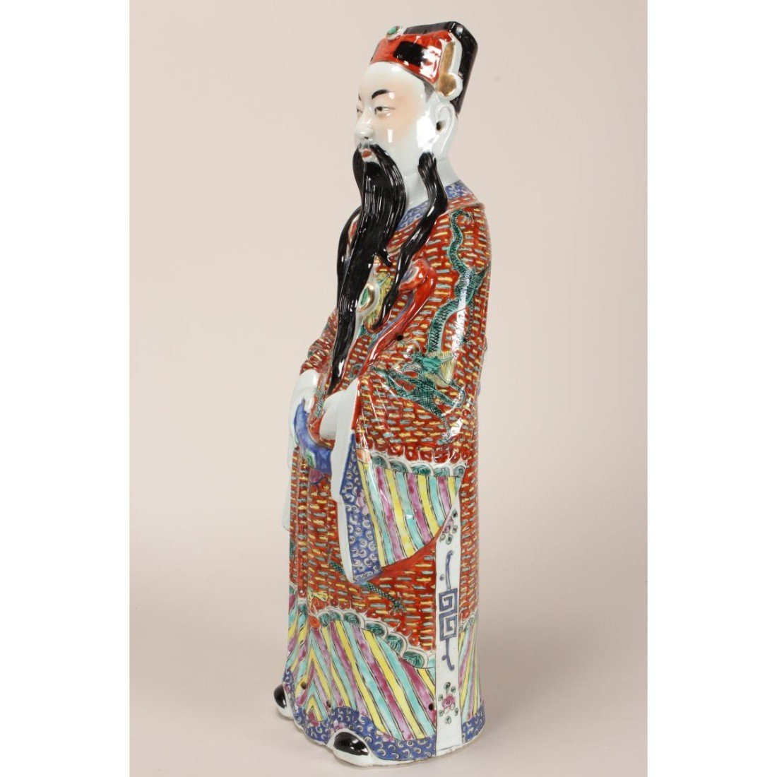 Large Chinese Porcelain Figure of Immortal, - 3