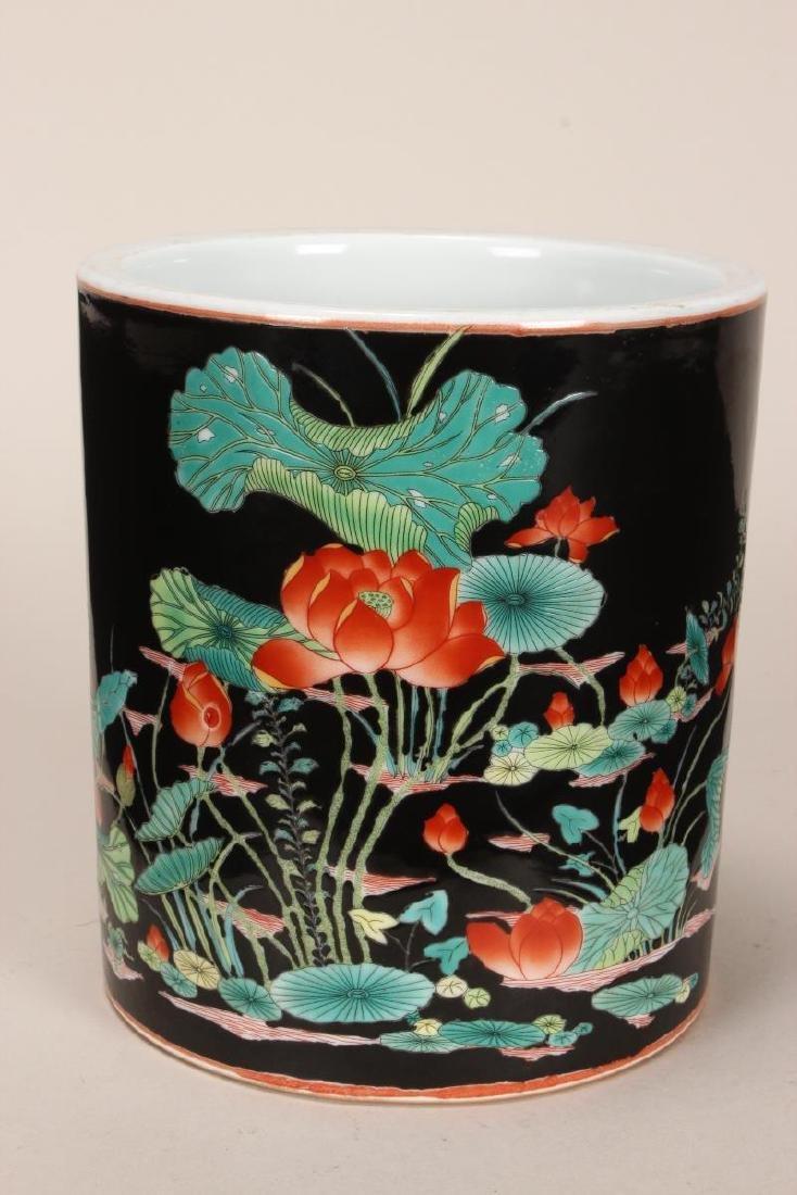 Chinese Famille Noir Porcelain Brush Pot,