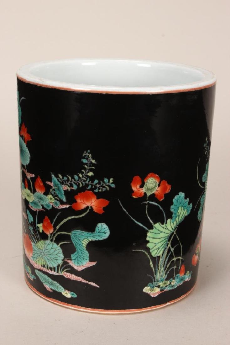 Chinese Famille Noir Porcelain Brush Pot, - 2