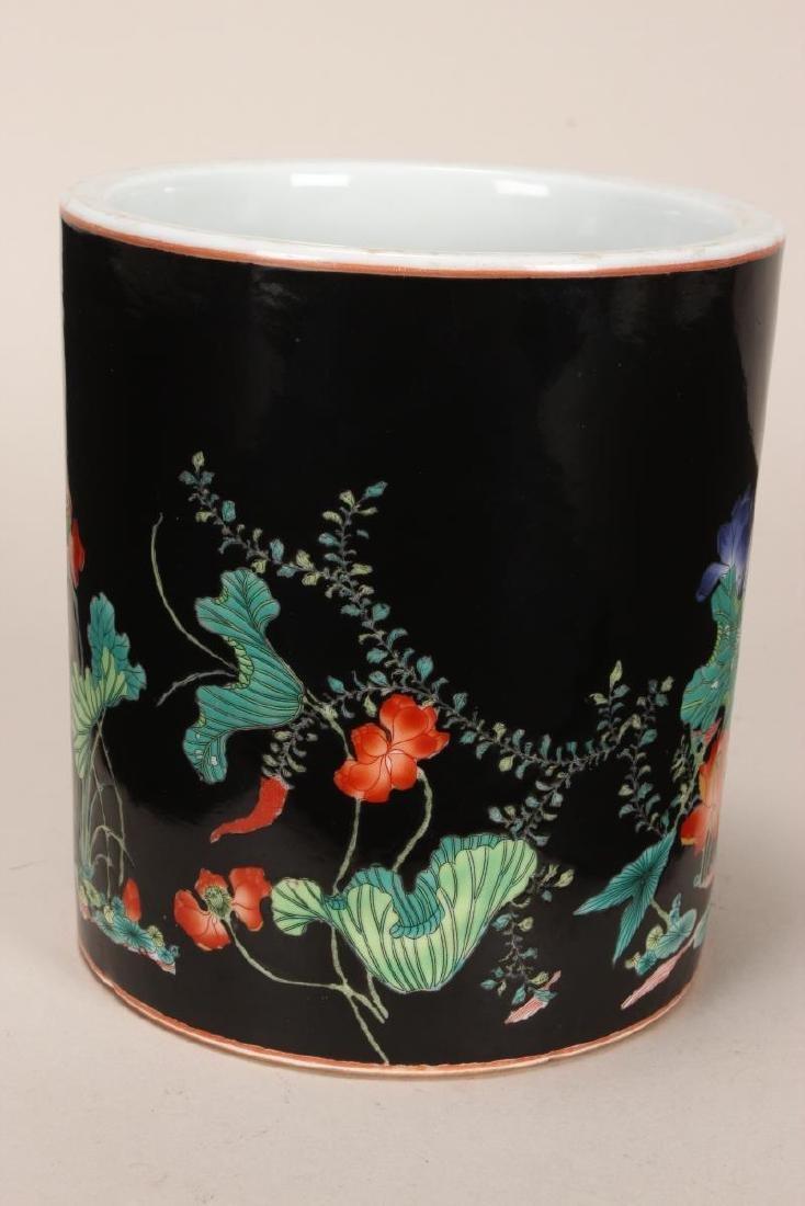 Chinese Famille Noir Porcelain Brush Pot, - 3