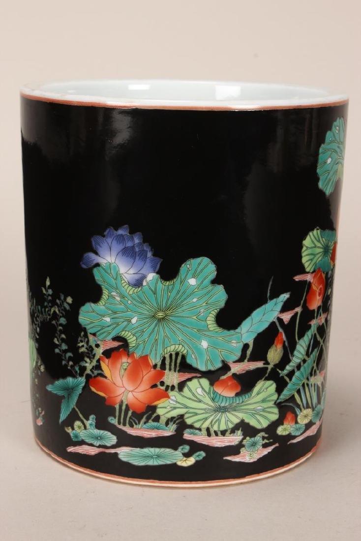 Chinese Famille Noir Porcelain Brush Pot, - 4