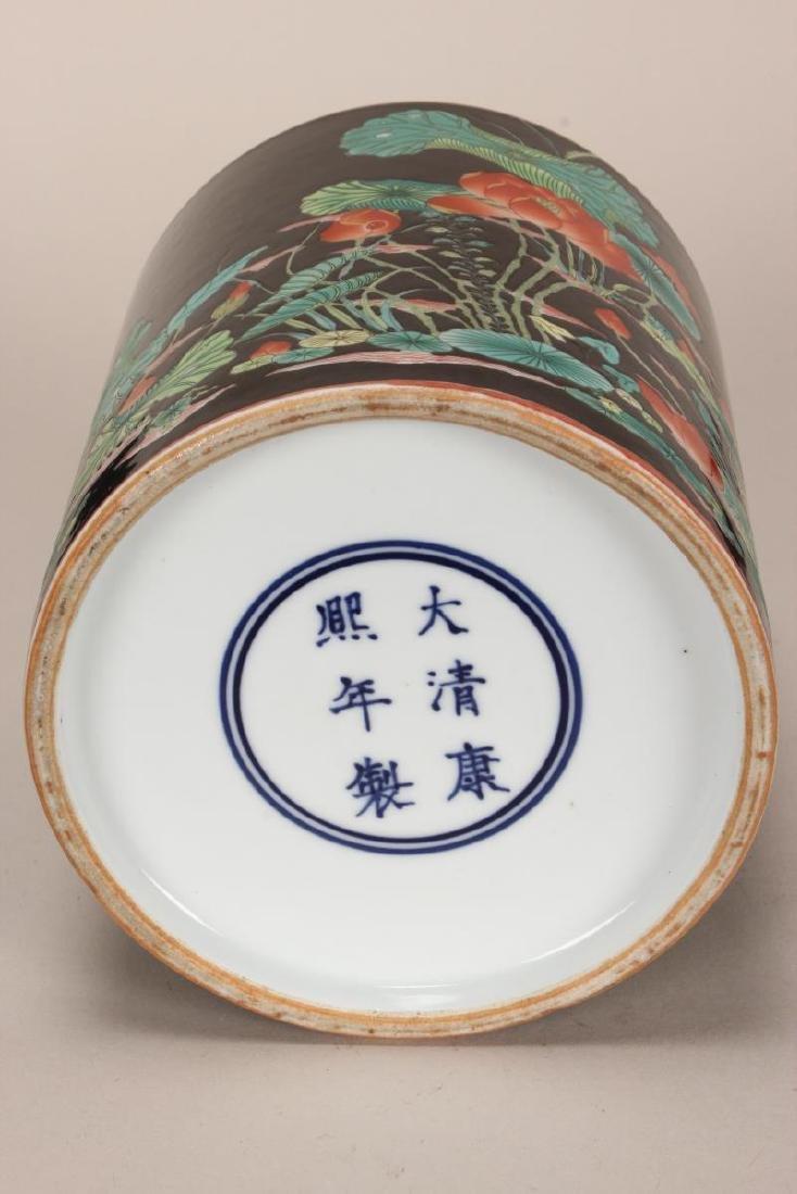 Chinese Famille Noir Porcelain Brush Pot, - 5