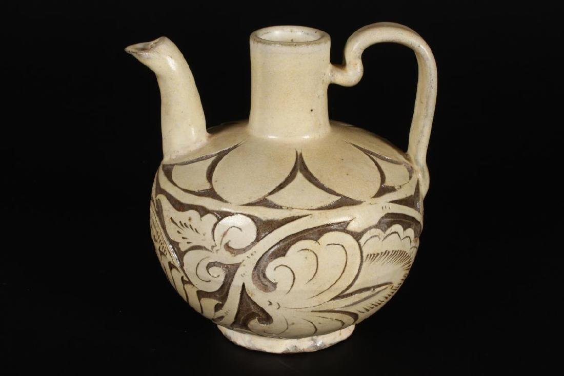 Chinese Carved Cizhou Ware Ewer,