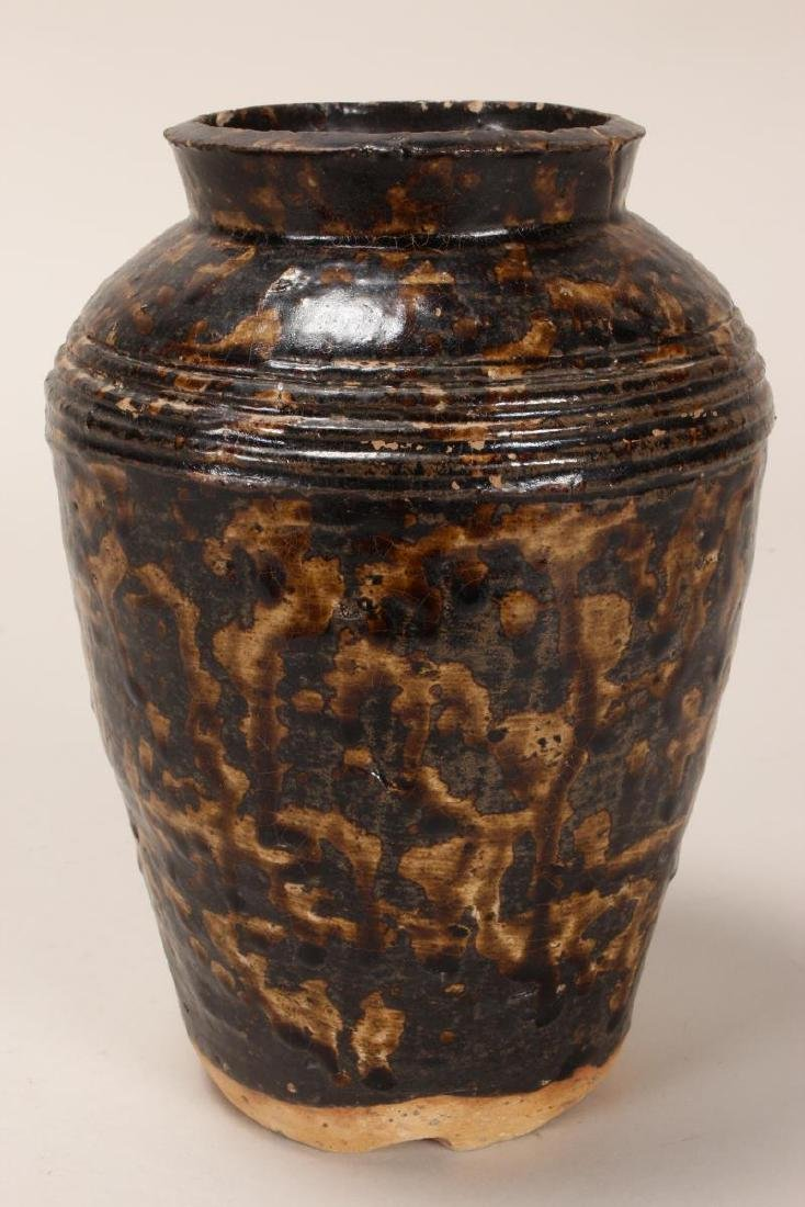 Early Chinese Brown Glaze Vase, - 2