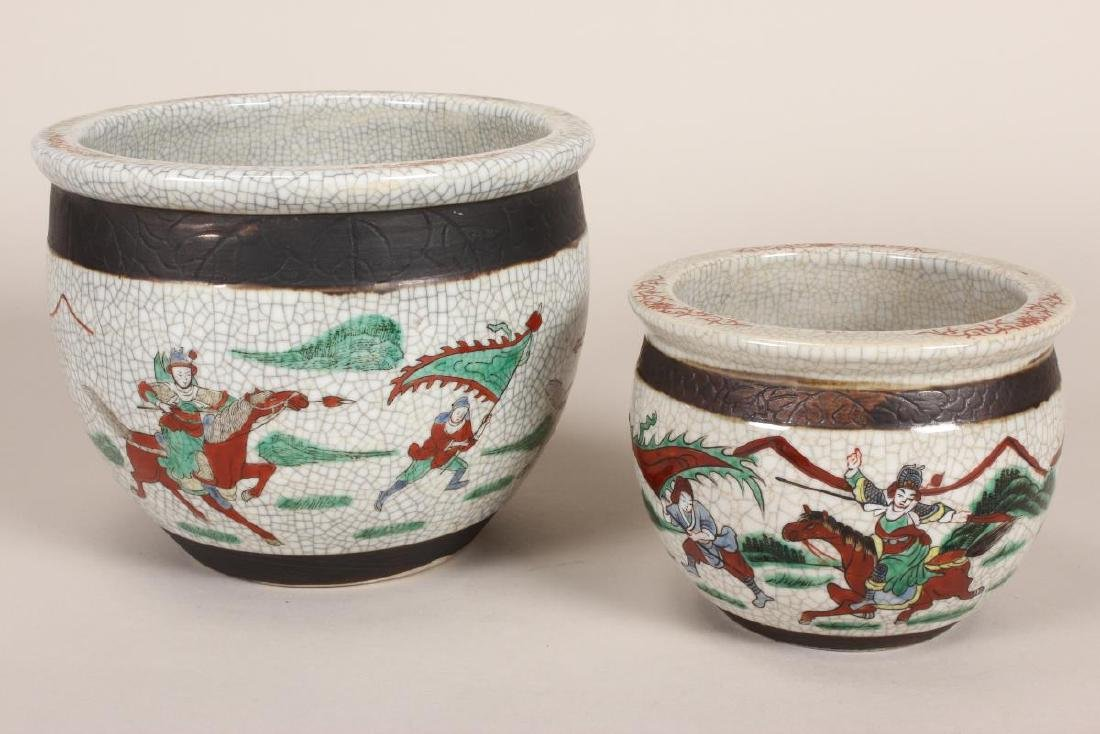 Two Chinese Crackle Glaze Famille Vert