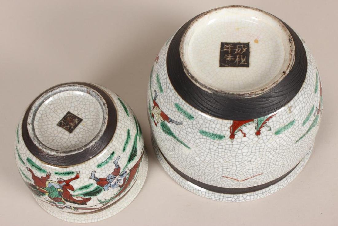 Two Chinese Crackle Glaze Famille Vert - 3