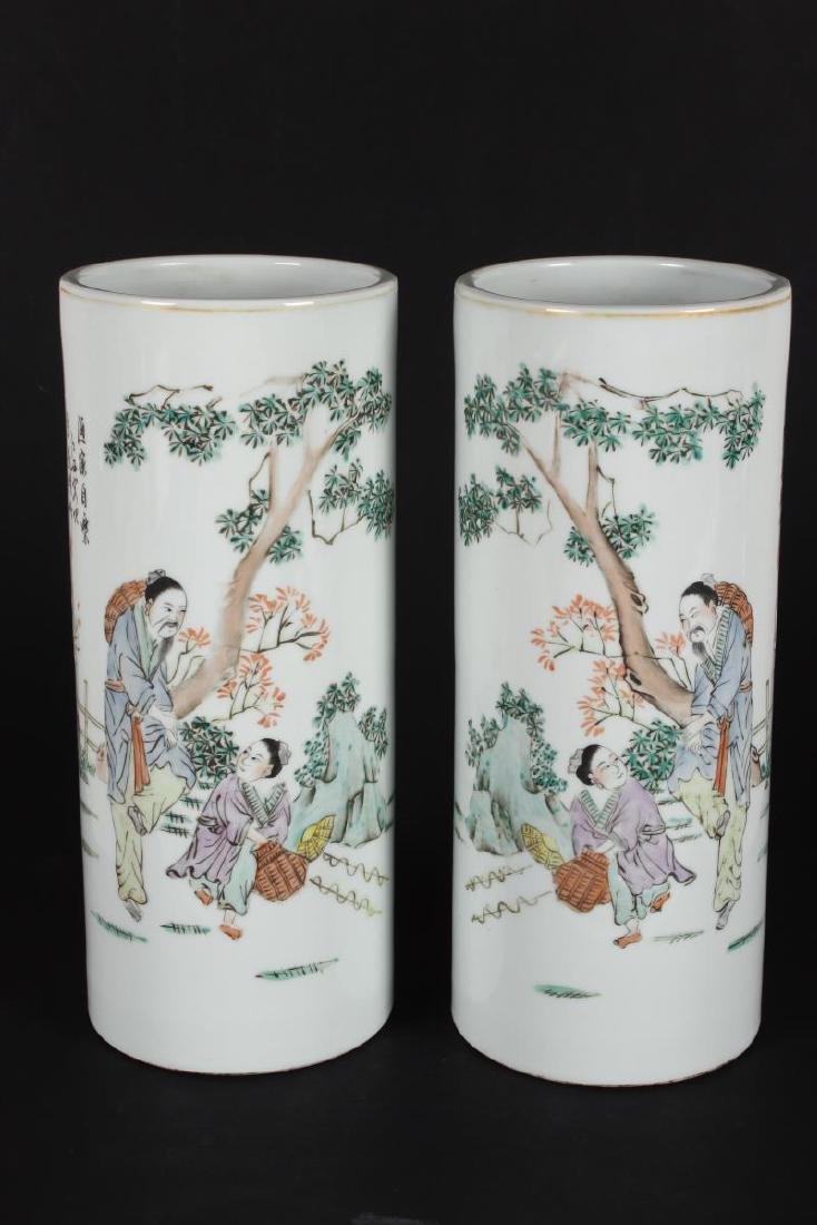 Pair of Chinese Famille Verte Porcelain Vases,