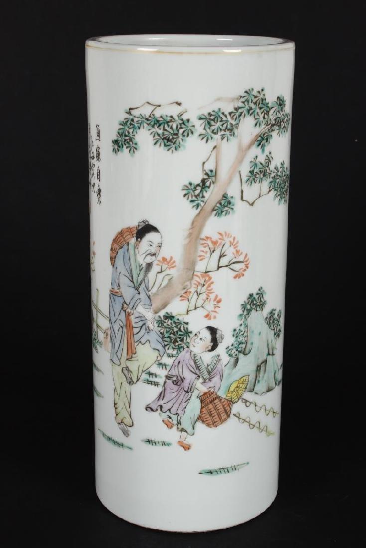 Pair of Chinese Famille Verte Porcelain Vases, - 2
