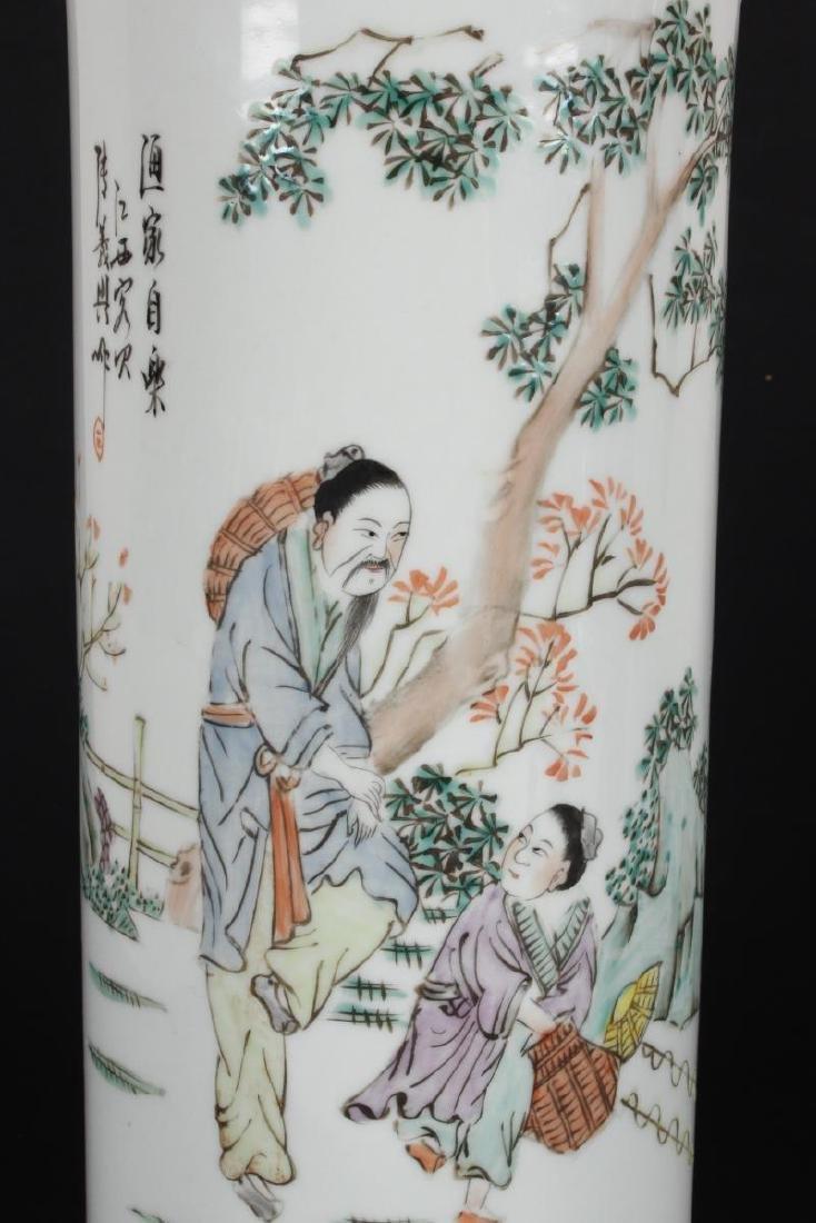 Pair of Chinese Famille Verte Porcelain Vases, - 3