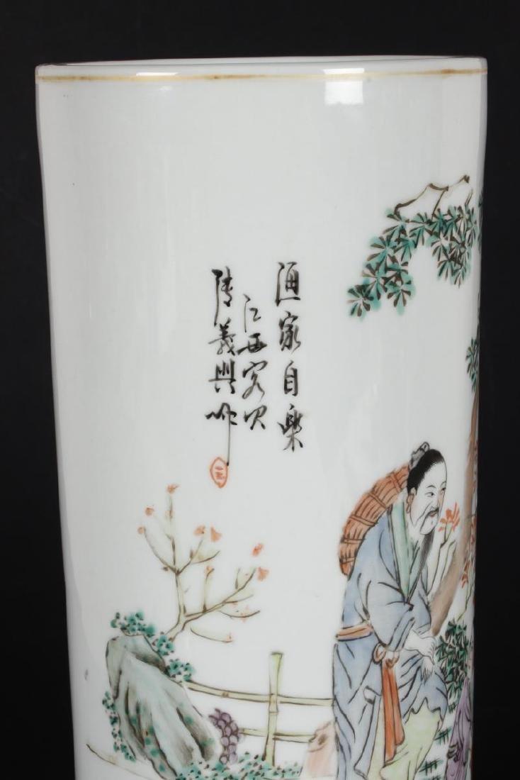 Pair of Chinese Famille Verte Porcelain Vases, - 4