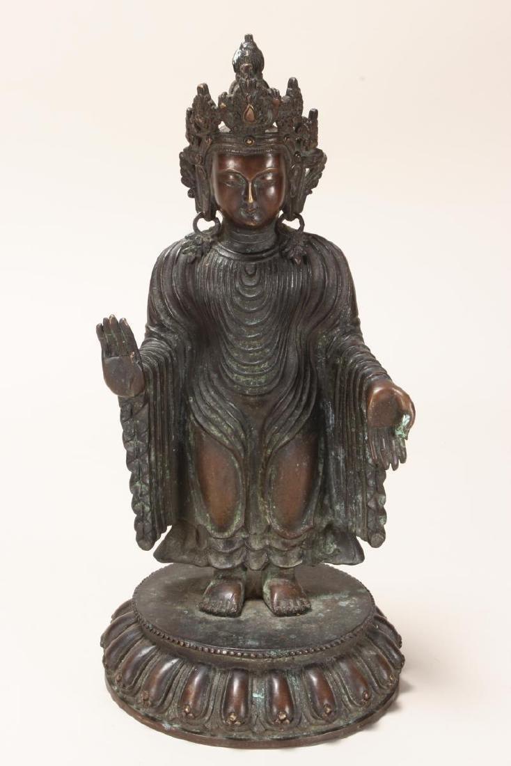 Chinese Bronze Standing Buddha,