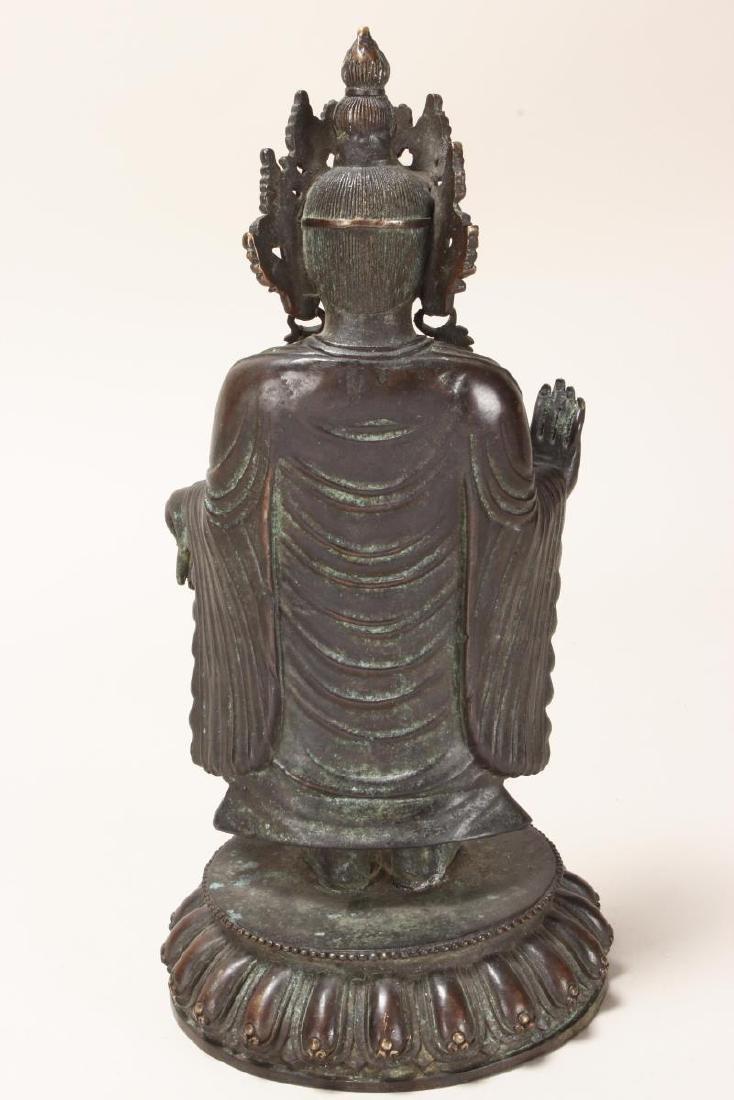 Chinese Bronze Standing Buddha, - 5