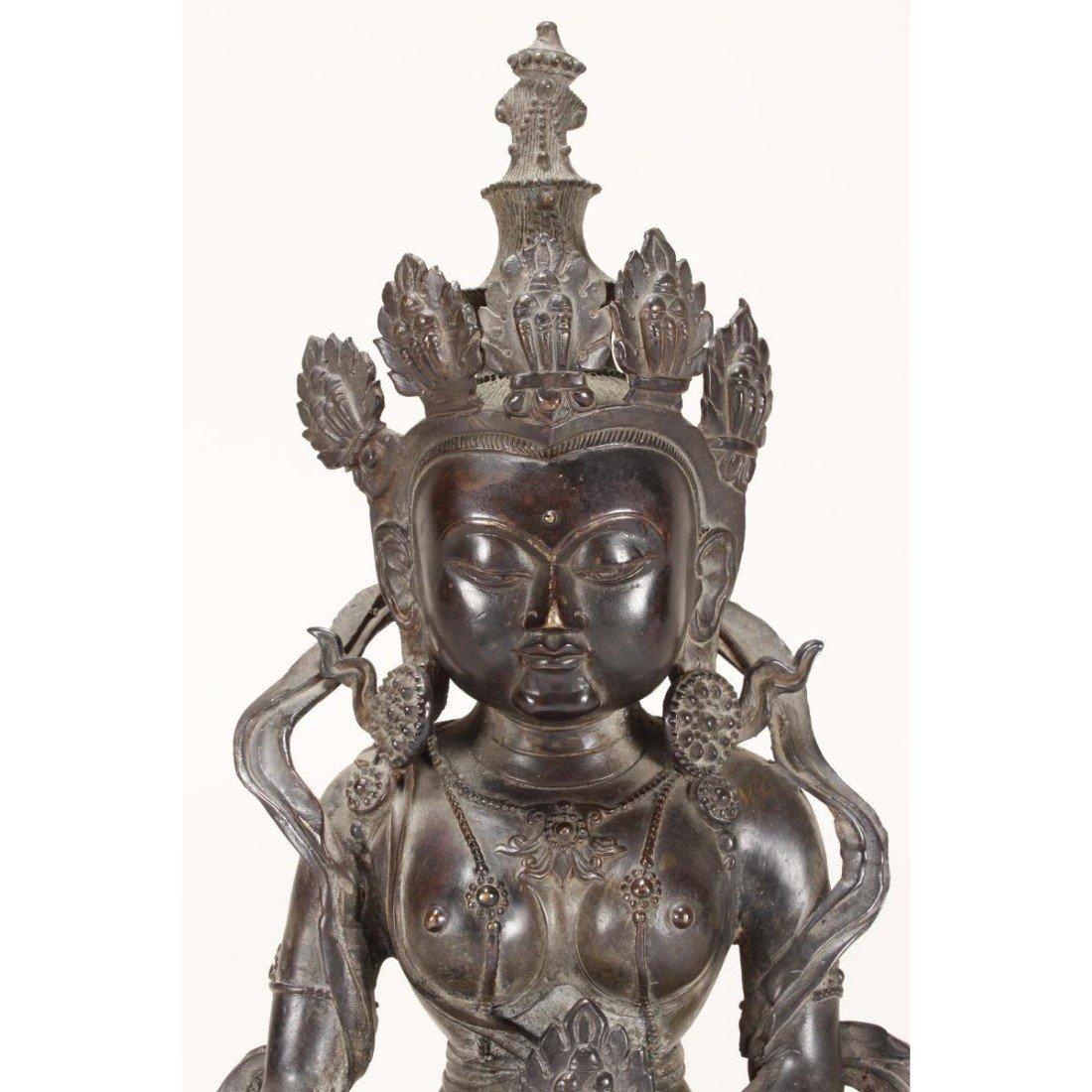 Chinese Bronze Seated Tara, - 3