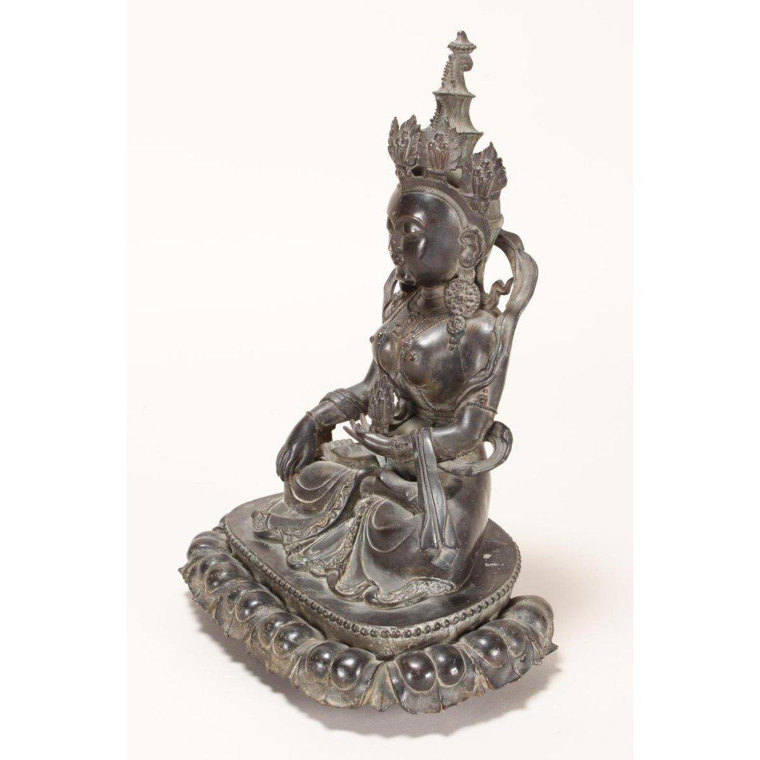 Chinese Bronze Seated Tara, - 6