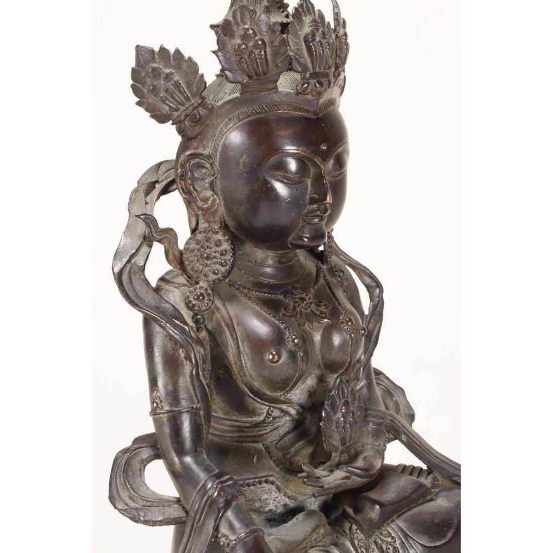 Chinese Bronze Seated Tara, - 9