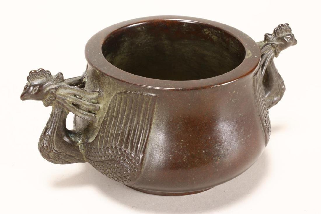 Chinese Bronze Twin Handled Censer,