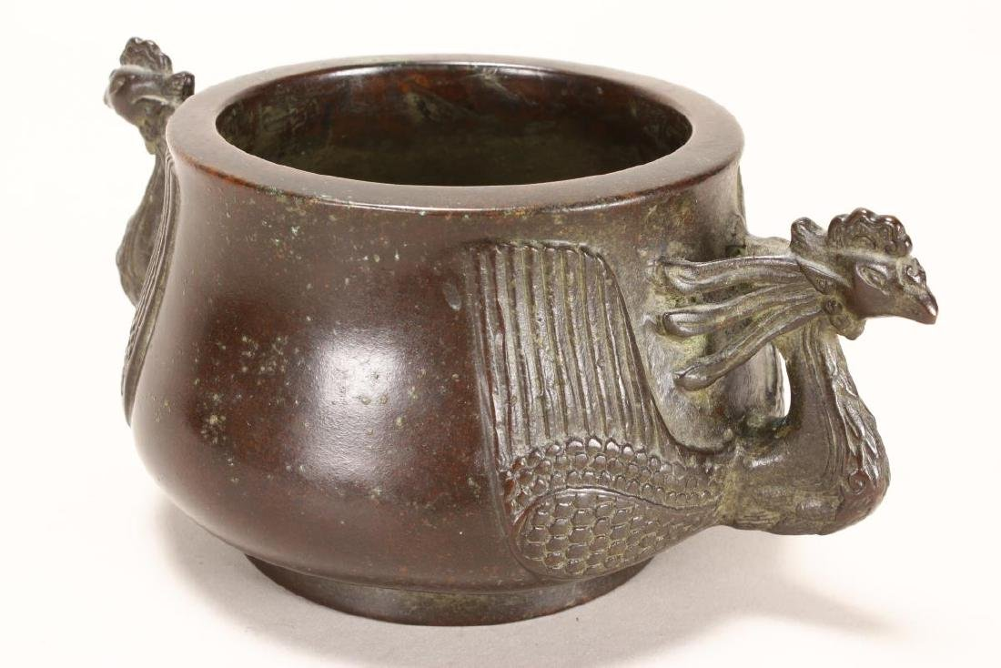 Chinese Bronze Twin Handled Censer, - 2