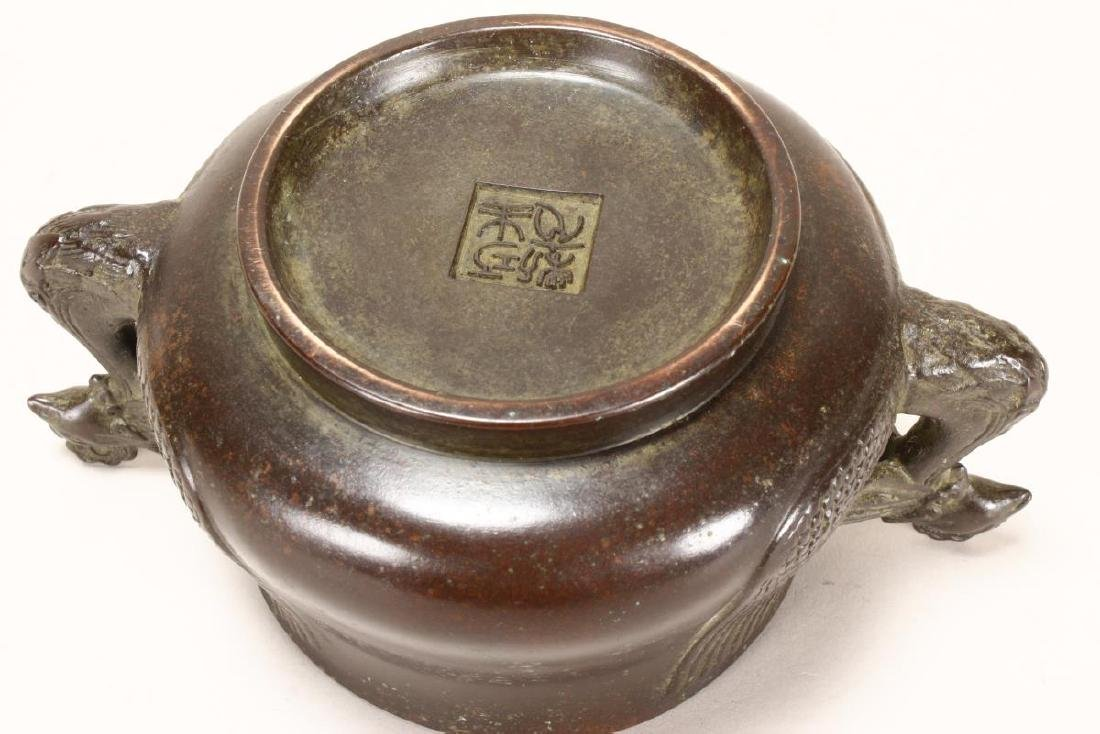 Chinese Bronze Twin Handled Censer, - 3