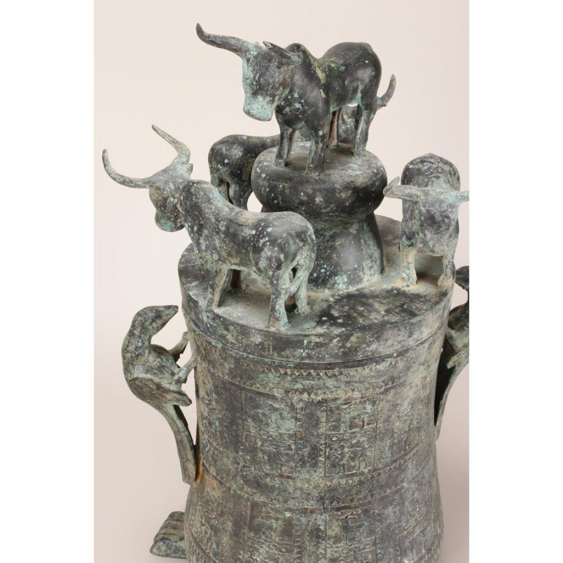 South East Asian Bronze Jar and Cover, - 2