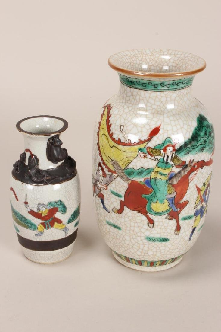 Two Chinese Famille Vert Crackle Vases, - 3