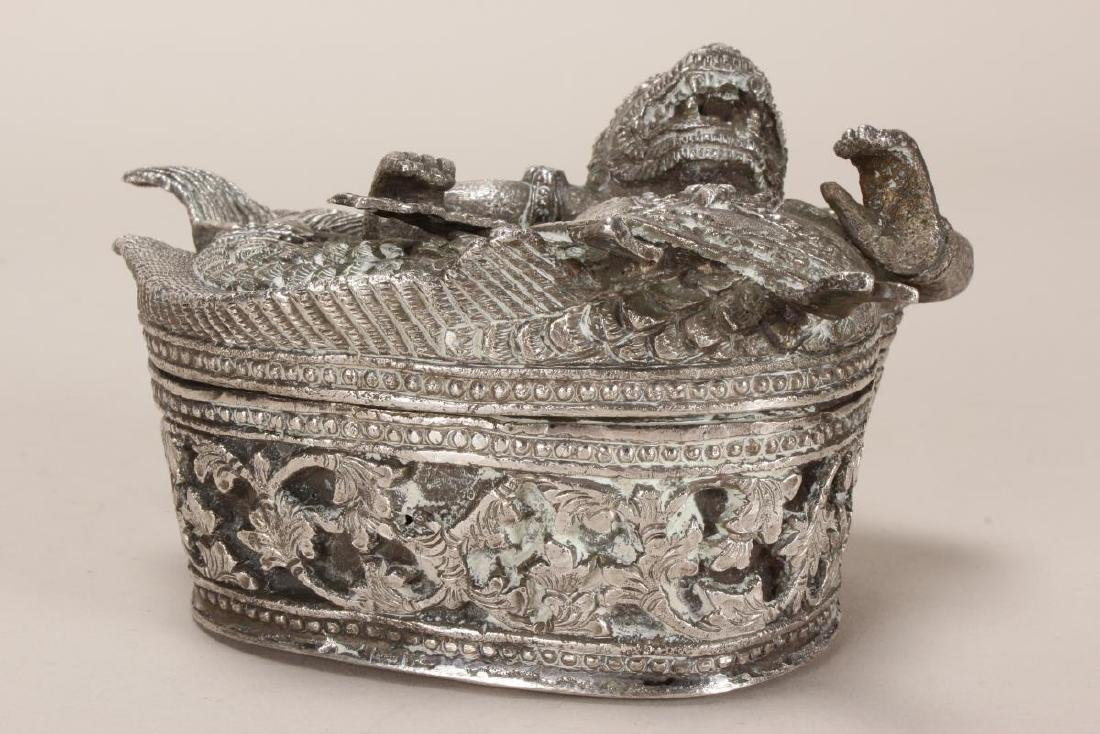 Burmese Silver Betel Box, - 4