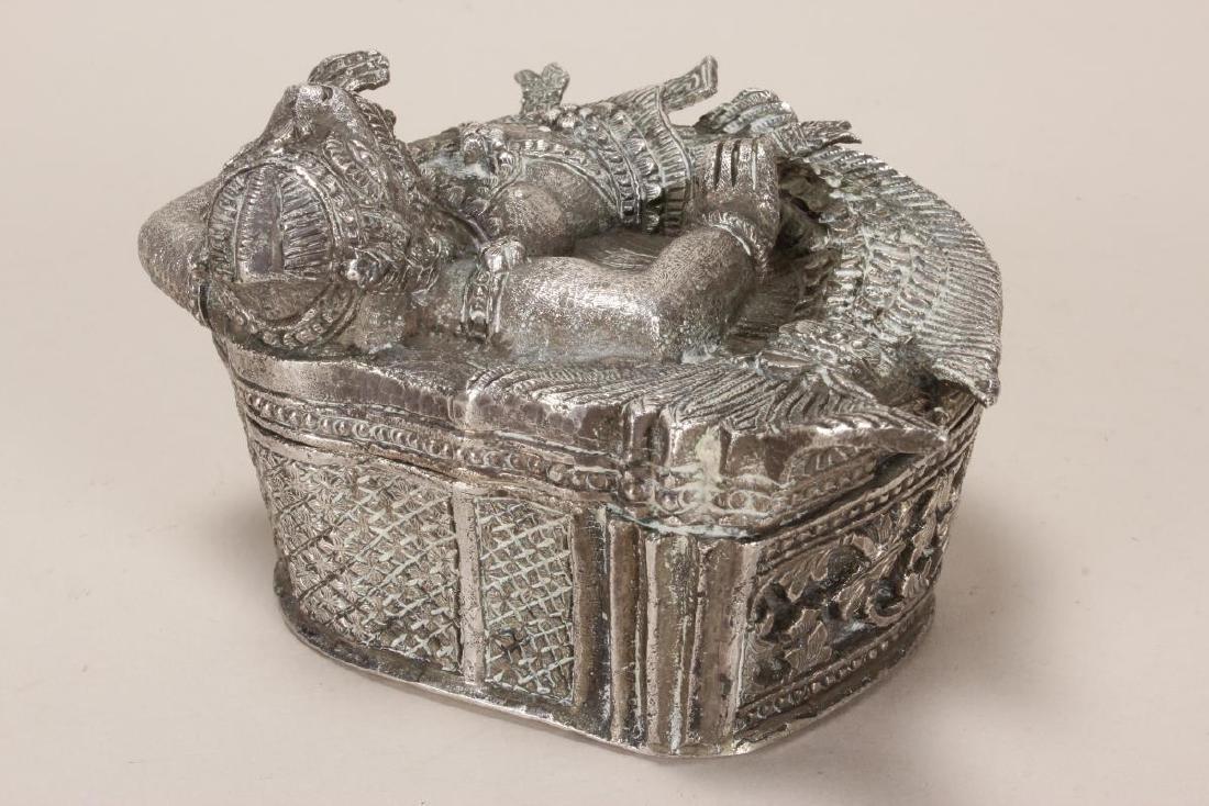 Burmese Silver Betel Box, - 6