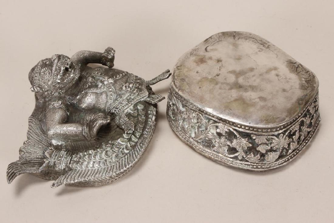 Burmese Silver Betel Box, - 7