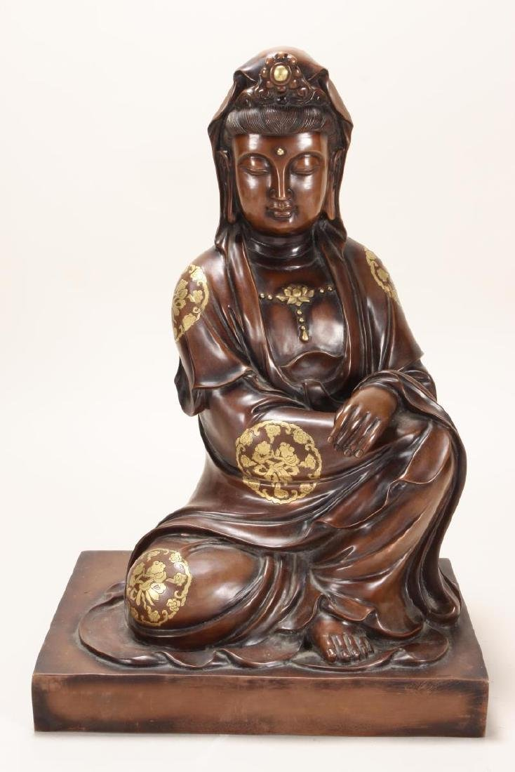 Large Chinese Bronze Seated Kwan Yin,